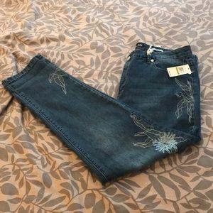 Anne Klein Girlfriend Slimming Embroidered Jeans
